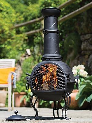 LA Hacienda murcia large chimenea styeel grill cooking BBQ patio outdoor heating wood log charcoal