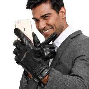 New Men/'s 100/% Genuine Leather Gloves Super Fashion Touchscreen Gloves 21-24cm