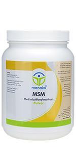 manako MSM (Methylsulfonylmethan) kristallines Pulver, Premiumqualität, 99.9% rein, 1000 g Dose
