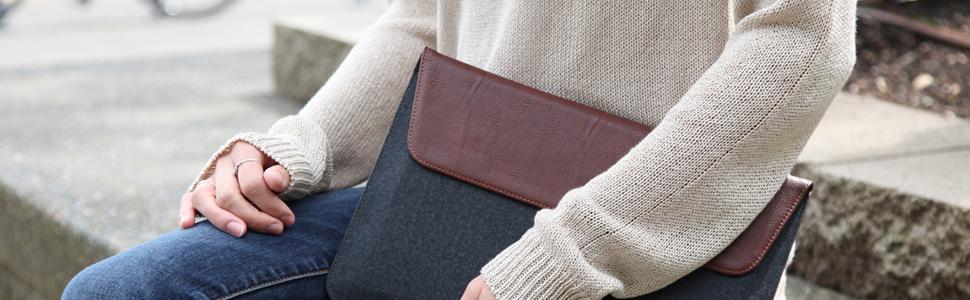 Maroo Woodland Pu Leather Wool Sleeve For Microsoft Elektronik