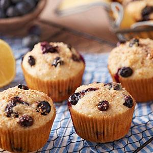 healthier lemon blueberry muffins, breakfast treat, wilton covered muffin pan