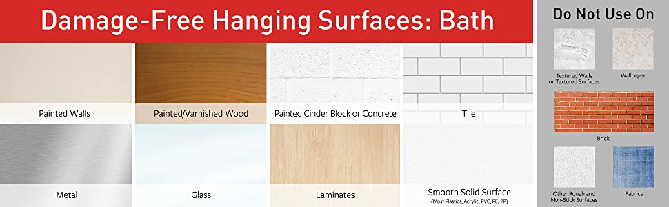 Damage-Free Hanging Surfaces for Bath