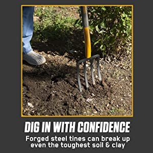 TRUE TEMPER, fork, digging, spading, manure, soil, hardwood, steel, tines, d grip, forged, steel