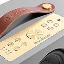 Audio Pro Addon C10 Multi-room Wireless Speaker aluminium control panel presets and leather handle