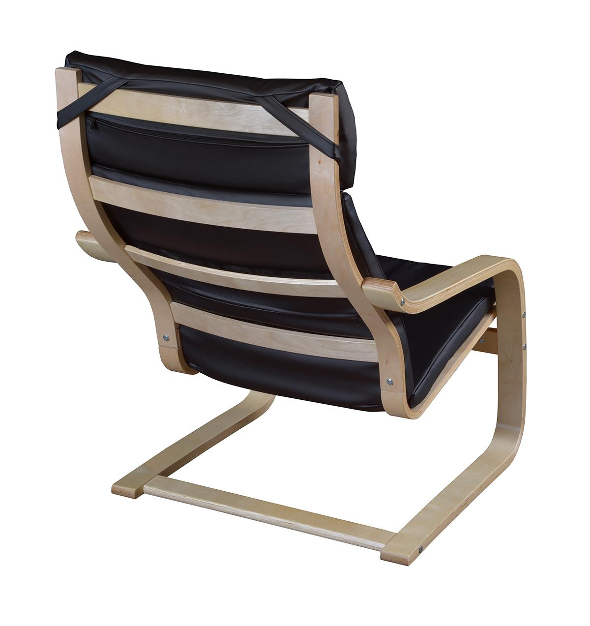 Amazing Niche N2020Lntbk Mia Bentwood Reclining Lounge Chair 36 Natural Black Vinyl Evergreenethics Interior Chair Design Evergreenethicsorg