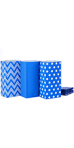 Blue paper lunch bags for treats, party favors, baby showers, kids birthday parties, arts and crafts