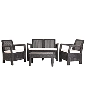 Keter - Conjunto de jardin de 4 plazas Tarifa Lounge con cojines incluidos, Color marrón