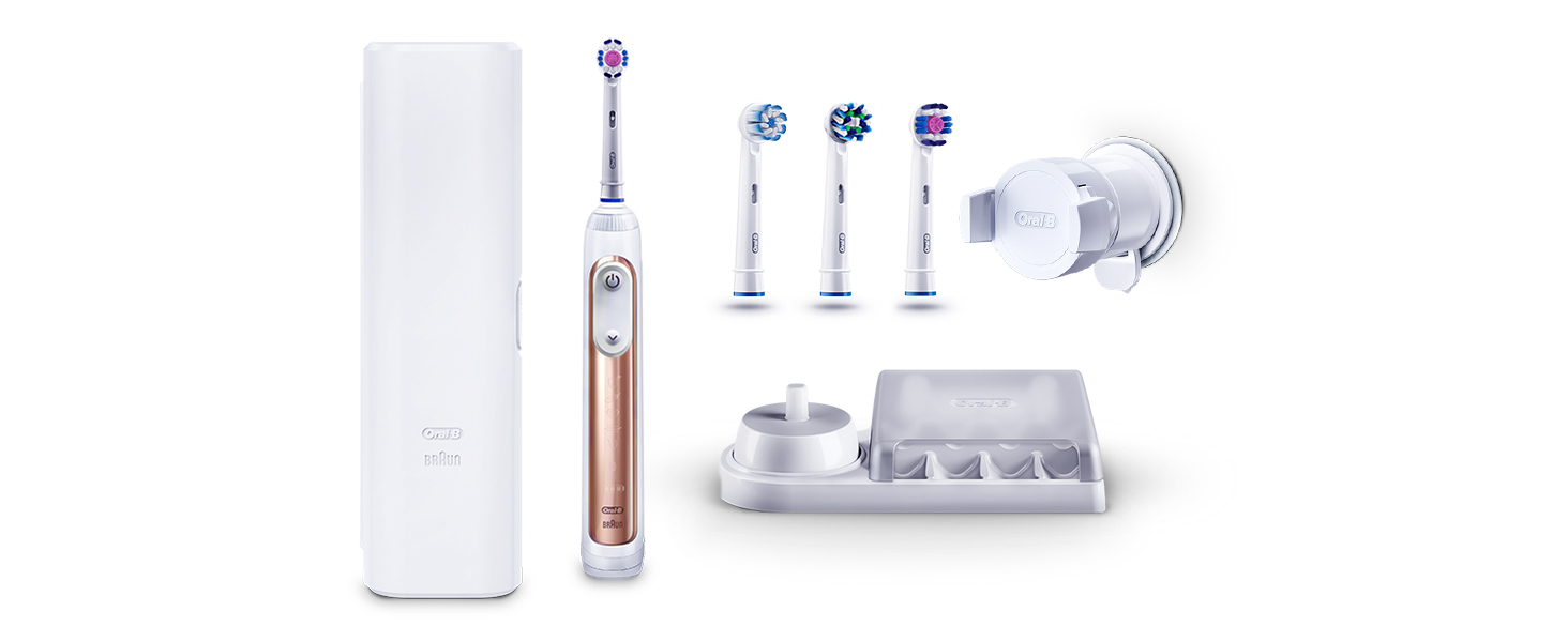 Oral B Genius 9000 3D White Electric Toothbrush Powered By Braun, 1 Rose Gold Connected Handle, 6 Modes Including Whitening, Sensitive, Gum Care, 4