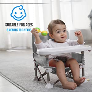 Portable Baby Dinning Highchair Booster Seat Travel Toddler Feeding Chair Grey