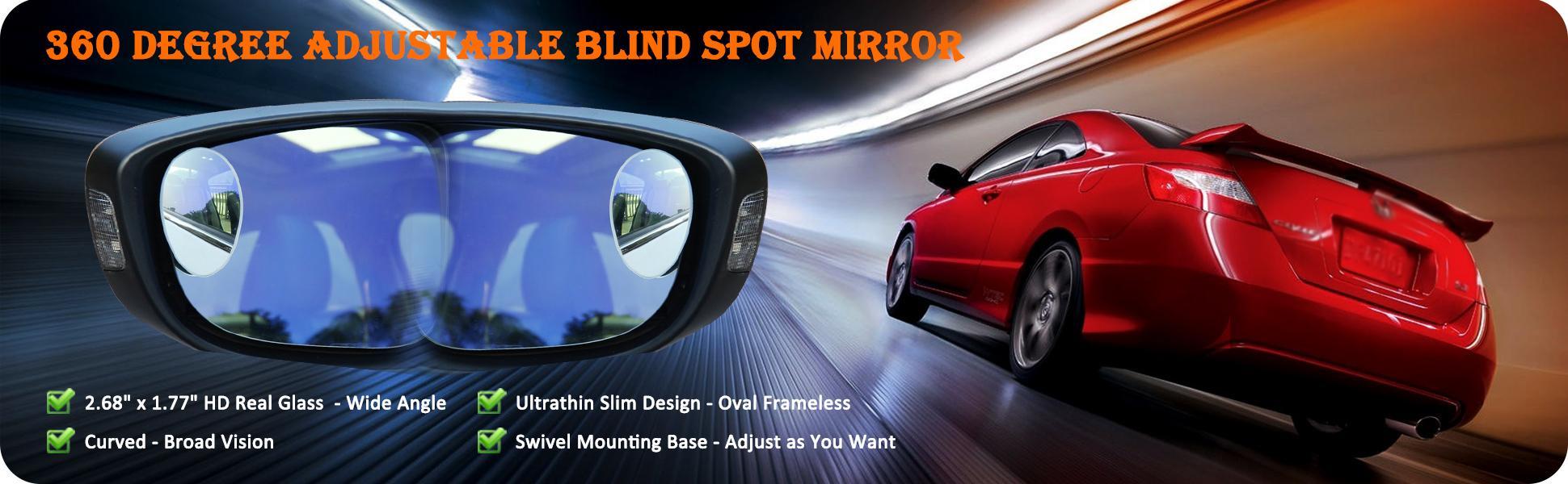 Ampper Egg Shape Blind Spot Mirrors Frameless 360 Degree