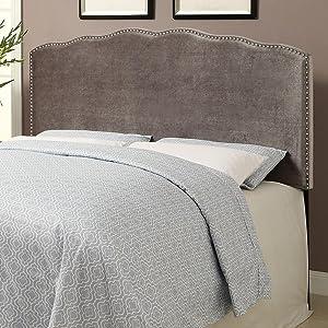 upholstered headboard, headboard, velvet, nail head, velvet fabric