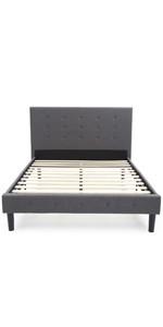 bed frame, platform bed, headboard, wood frame, metal frame, upholstered, full, queen, king
