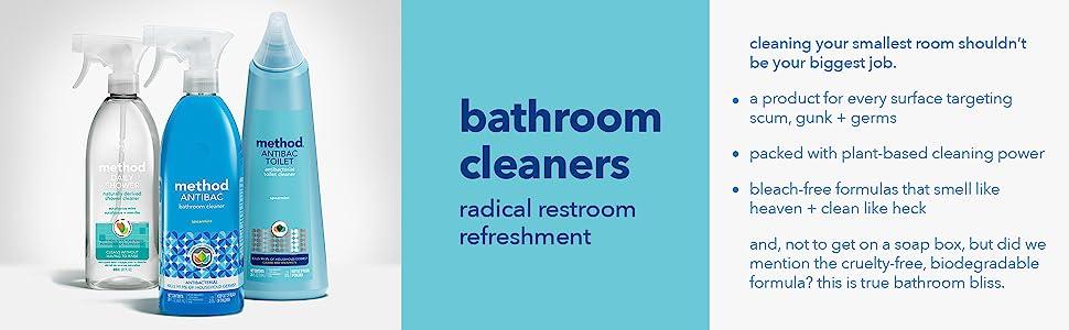 bathroom cleaner, antibacterial spray, bleach free cleaners, cleaning sprays, method cleaners