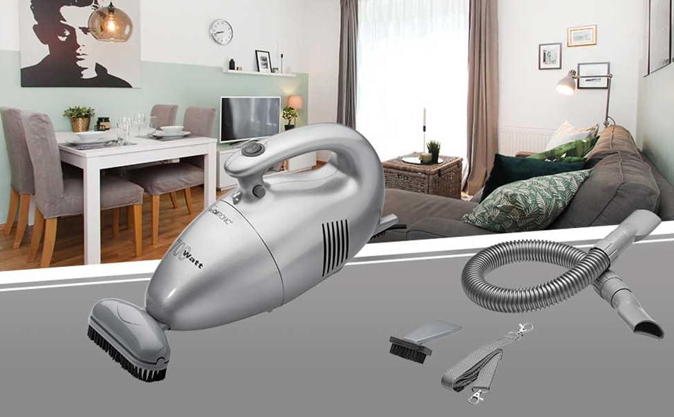 Clatronic HS 2631 Aspirador de mano, tamaño compacto, 700 W, 0.8 litros, 36 Decibelios, De plástico, Plateado: Amazon.es: Hogar
