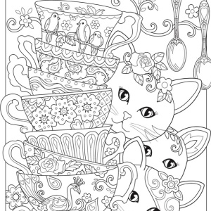 adult coloring cats kittens