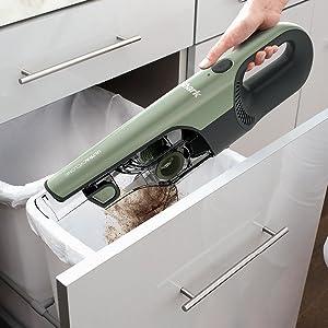 Easy empty hand vacuum