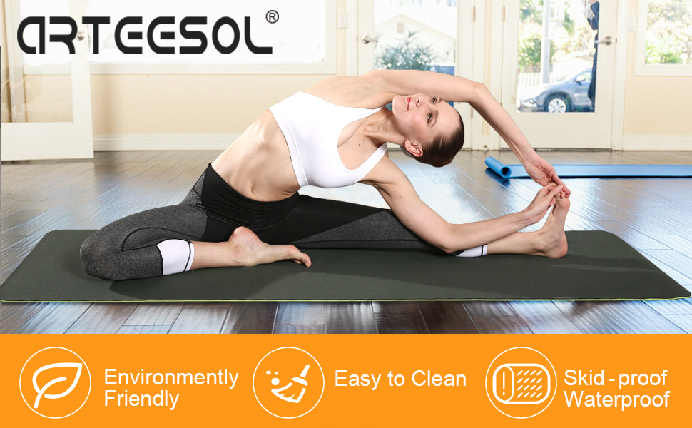 arteesol Yoga Mat, Fitness Exercise Mat Thick & Non Slip Eco-Friendly High Density Exercise Mat with Carring Strap for Yoga, Pilates and Floor ...