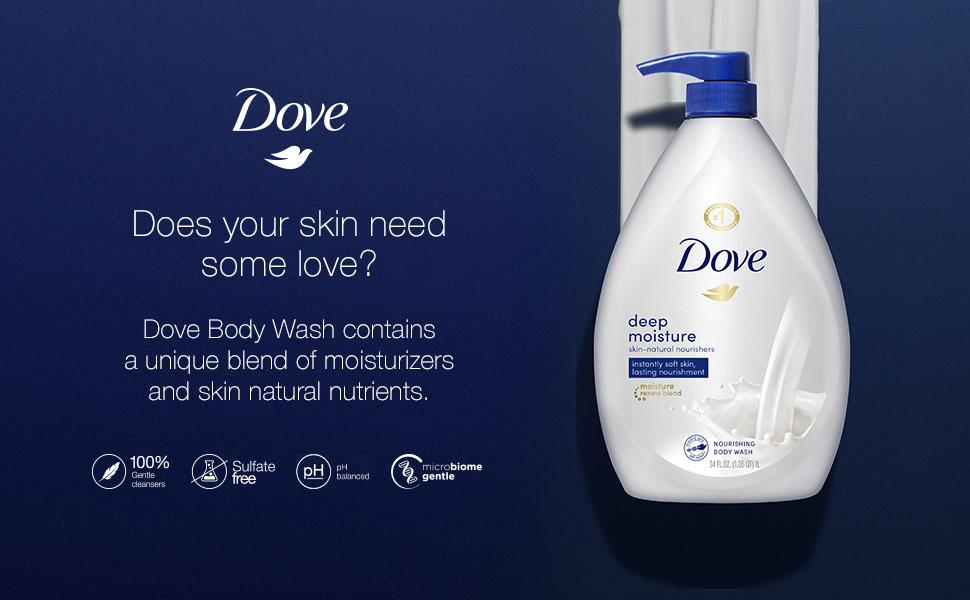 Dove Moisturizing Body Wash on a blue background