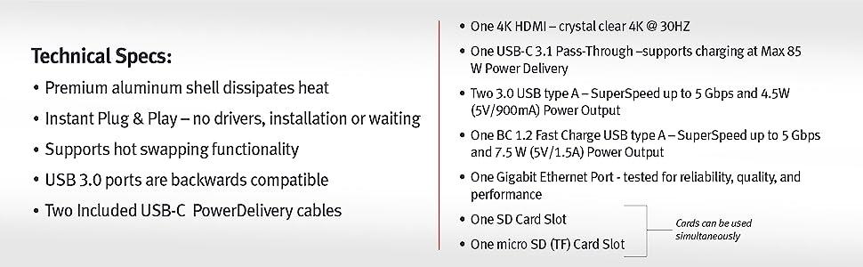 usb 3.0,usb-c 3.1,85W PD,100W, ethernet,BC 1.2,USB A, 4K HDMI