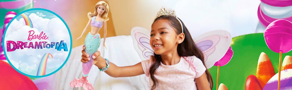 watch 100% authentic factory outlets Barbie Dreamtopia poupée Arc-en-ciel coffret 3 en 1 blonde avec trois  tenues multicolores de princesse, sirène et fée , jouet pour enfant, FJD08