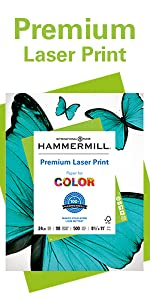 Ream of Hammermill Premium Laser Print 20lb letter size print & copy paper, 500 sheets, Made in USA