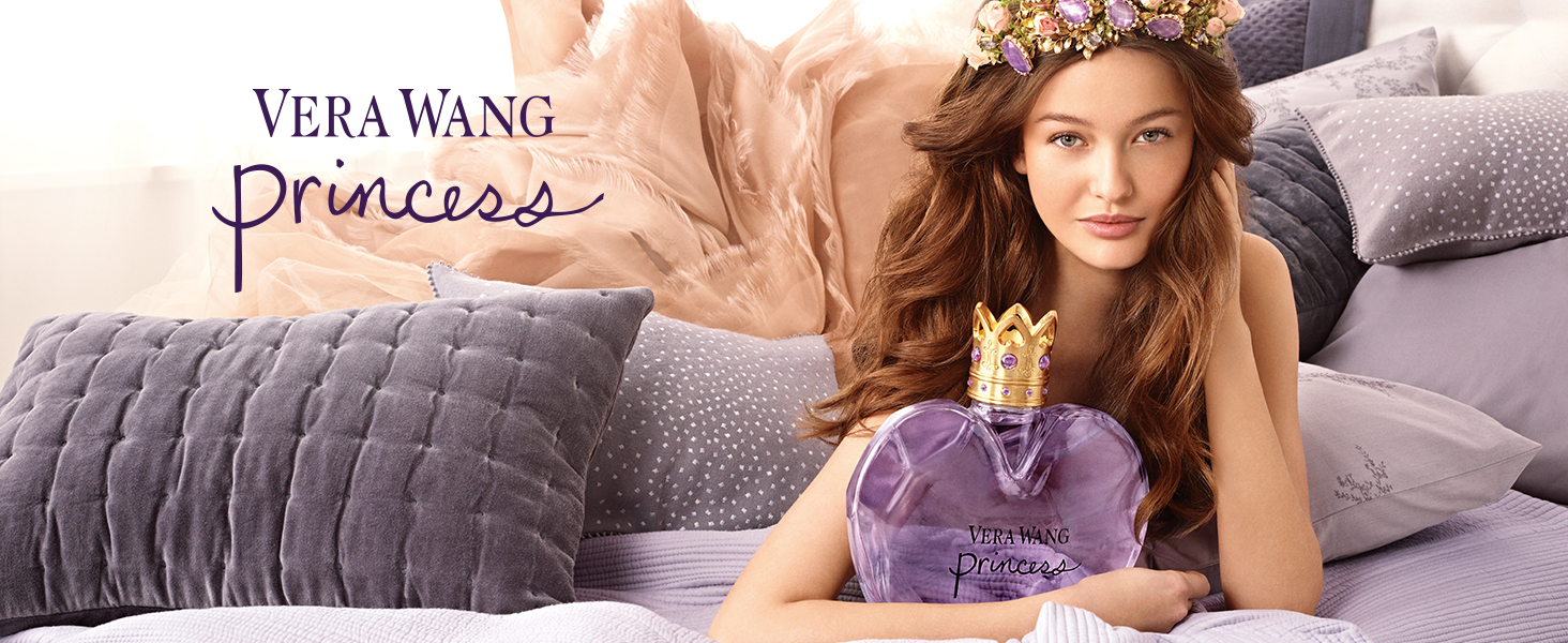 Model posing with Vera Wang Princess EDT bottle
