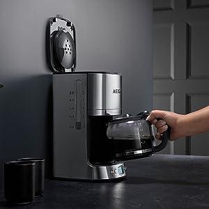 AEG KF7600 Cafetera Eléctrica, 1080 W, 1.25 litros, Acero ...