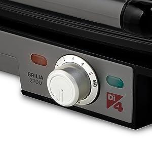 Di4 Grillia 2200 Grill de Contacto, 2200W, antiadherentes ...