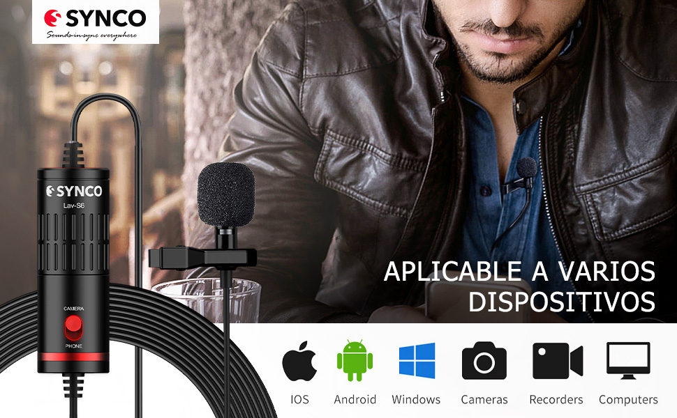 Synco Lav S6 Microfono-Solapa-Microfono-Lavalier-Condensador ...