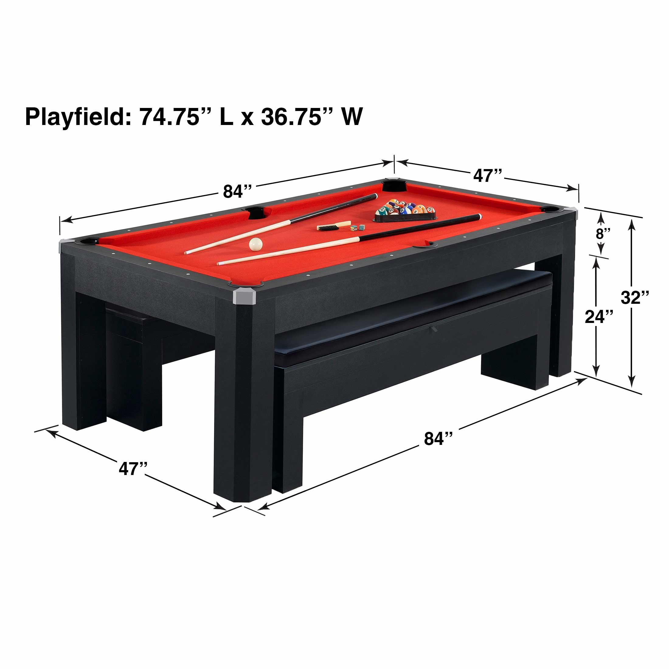 Park avenue 7 foot pool table tennis combination with dining top two storage benches free - Pool table table tennis ...