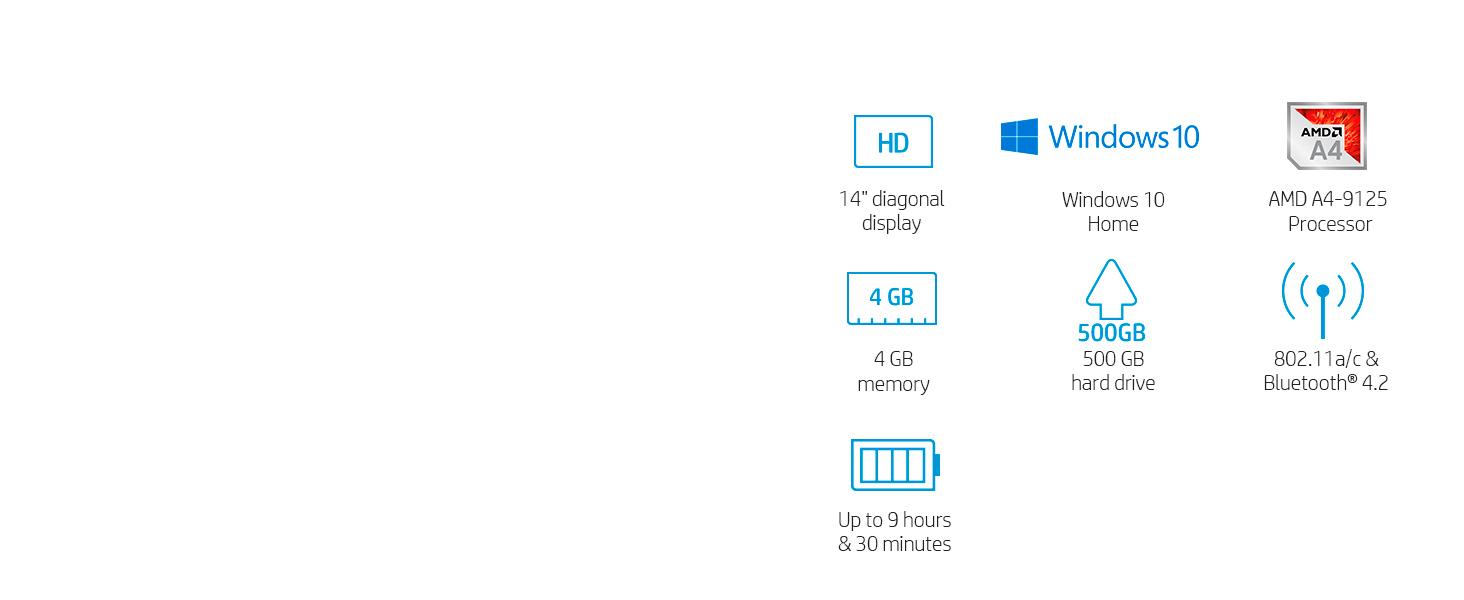 Amazon Com Hp 14 Inch Laptop Amd A4 9125 Processor 4 Gb Sdram 500 Gb Sata Storage Windows 10 Home 14 Cm0020nr Jet Black Computers Accessories