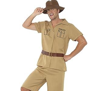 Safari Man-Kostüm mit Shirt, Shorts, Gürtel und Hut