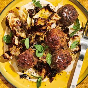 Minty Lamb Meatballs with Crispy Cabbage & Tahini Sauce