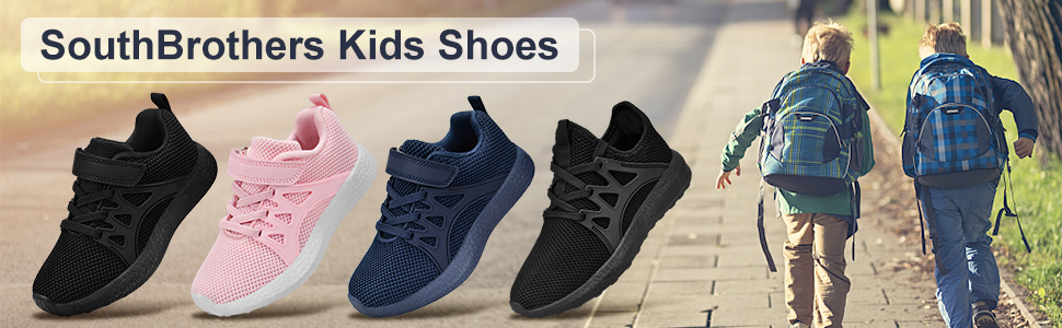SouthBrothers Boys Girls Sneakers No Lace Lightweight Breathable Running Walking Athletic Tennis Shoes