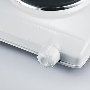Severin DK 1042 Hornillo de mesa doble, 2500 W, Metal, Blanco