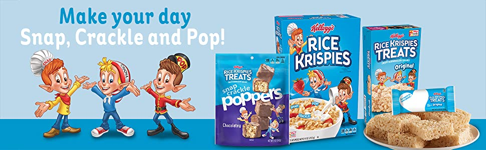 Make your day snap, crackle, and pop with the tasty variety of Rice Krispies cereals treats & snacks