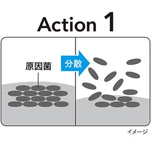 """洗浄成分が、口臭の発生原因となる""""菌のかたまり""""を分散し、落としやすくします"""