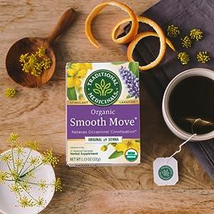 smooth move, tea, constipation, senna, wellness, traditional medicinals