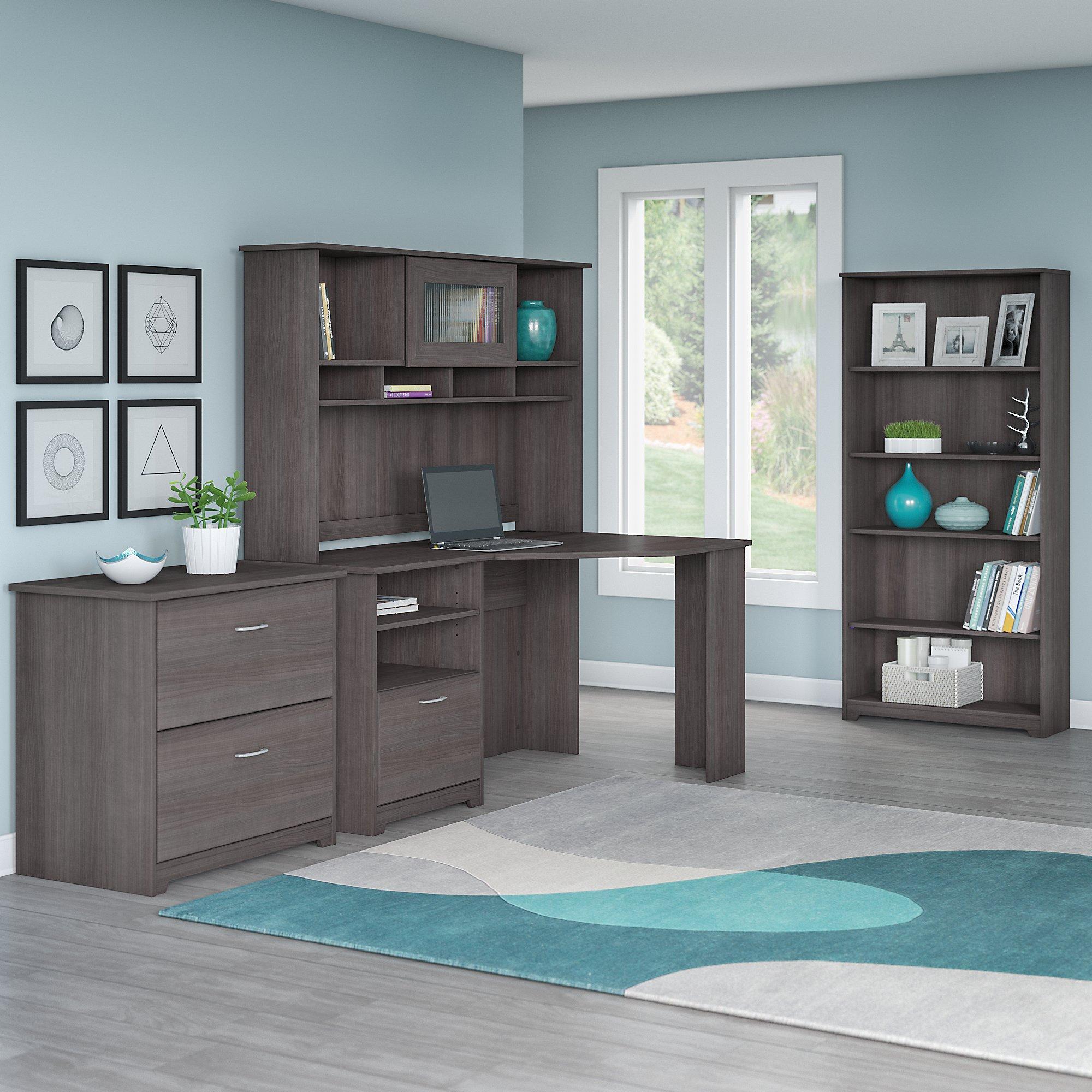 Cabot corner desk with hutch lateral file - Corner desks for home ...