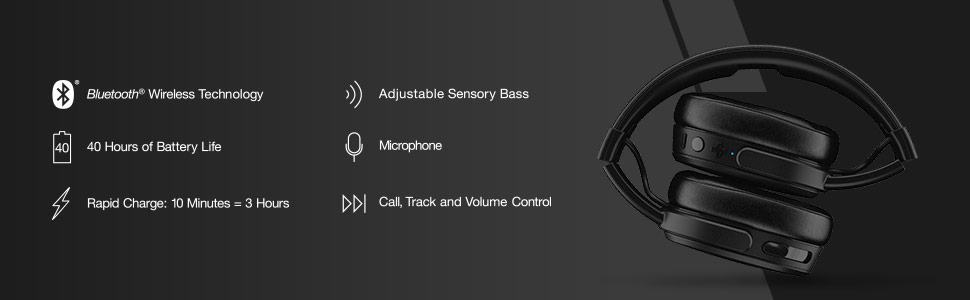 Crusher Wireless Immersive Bass Headphones Features