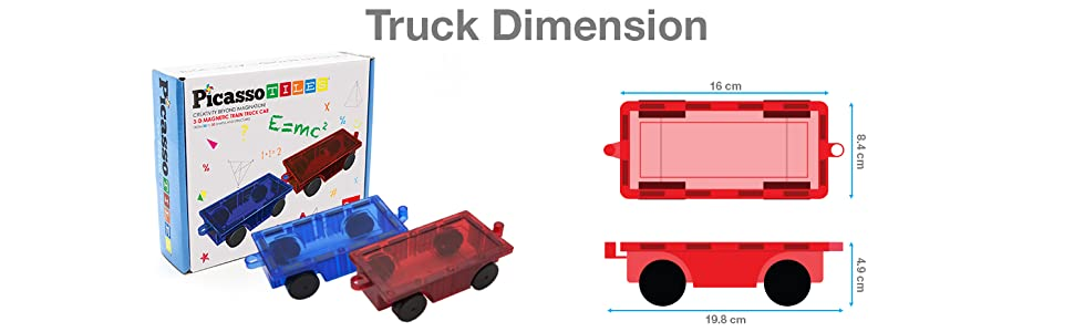 PICASSO TILES 3-D MAGNETIC TRAIN TRUCK CARS  2D and 3D shapes
