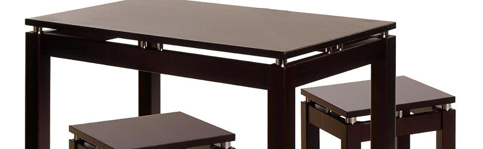 Amazon Com Winsome Linea Pub Kitchen Set Island Table With 2 Stools 3 Piece Furniture Decor