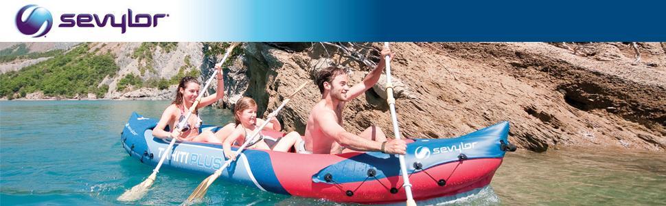 Sevylor 3 Person Tahiti 2 Plus 1 Inflatable Kayak Backpack System