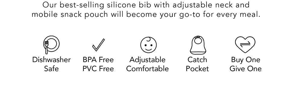 silicone bib, bib, adjustable, mobile snack pouch, dishwasher safe, catch pocket, BPA free, PVC free