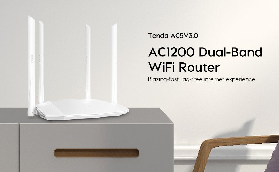 Tenda AC5V3.0 AC1200 Gigabit Dual Band Smart WiFi Router