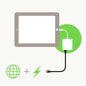 1つのライトニング 経由で充電もインターネット接続も