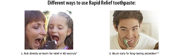 rub Rapid relief toothpaste sensitivity protection brush
