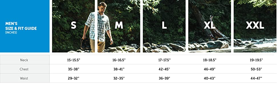 Men's long sleeve shirt size and fit guide