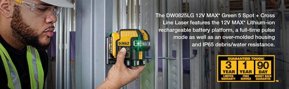 Dewalt Dw0825lg 12v 5 Spot Cross Line Laser Green