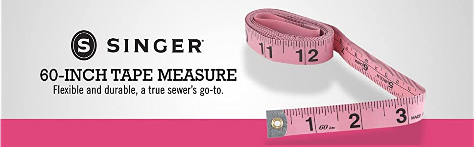 singer sixty inch tape measure cloth soft measuring tape sewing seamstress tailor pink fabric vinyl